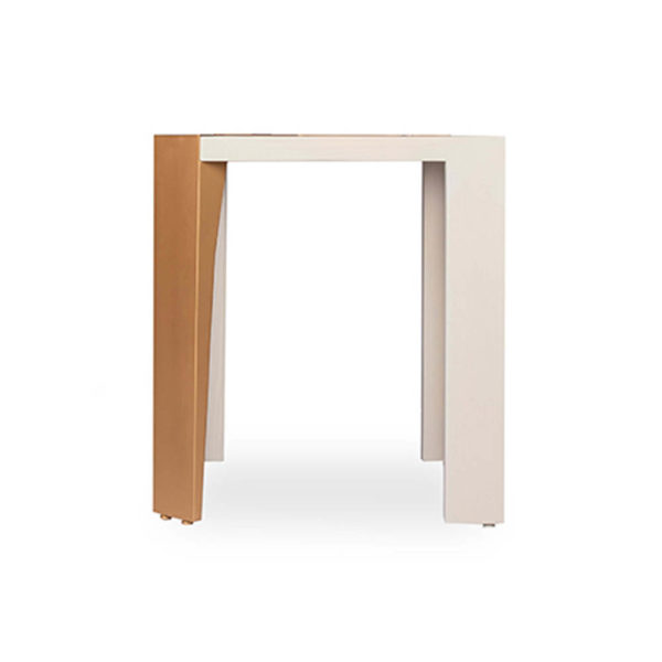 Tree Square Grey Side Table with Golden Stainless Leg Side View