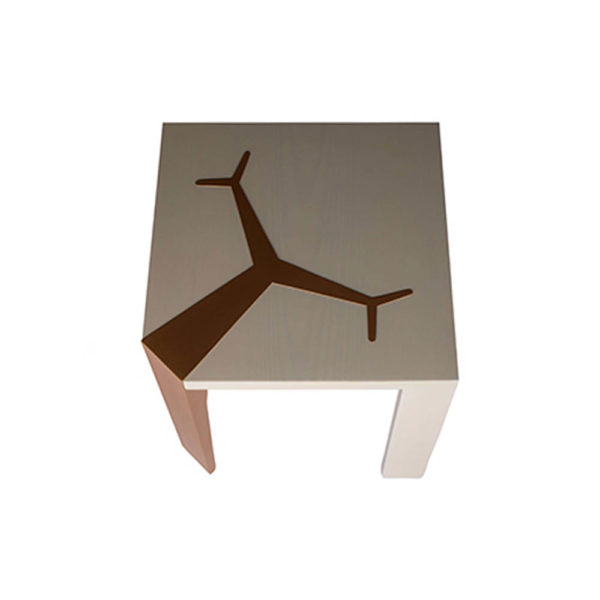 Tree Square Grey Side Table with Golden Stainless Leg Top View
