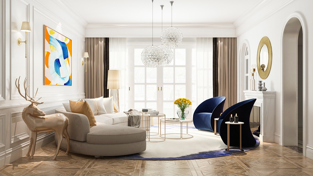 navy and grey living room
