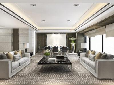 3d rendering classic luxury living room lobby lounge