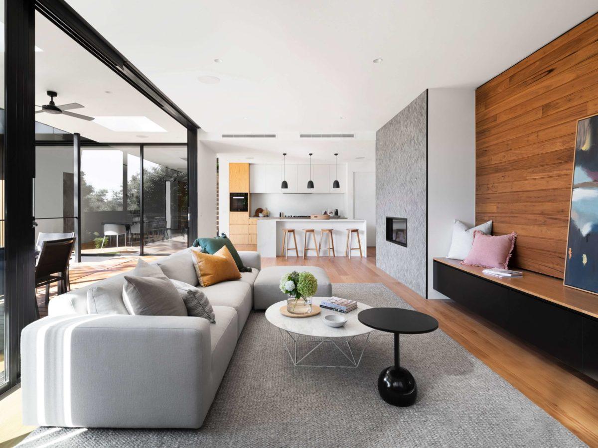 Grey and orang living room wall