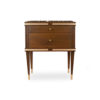 Arabelle 2 Drawers with Brass and Marble Top Bedside Table 1