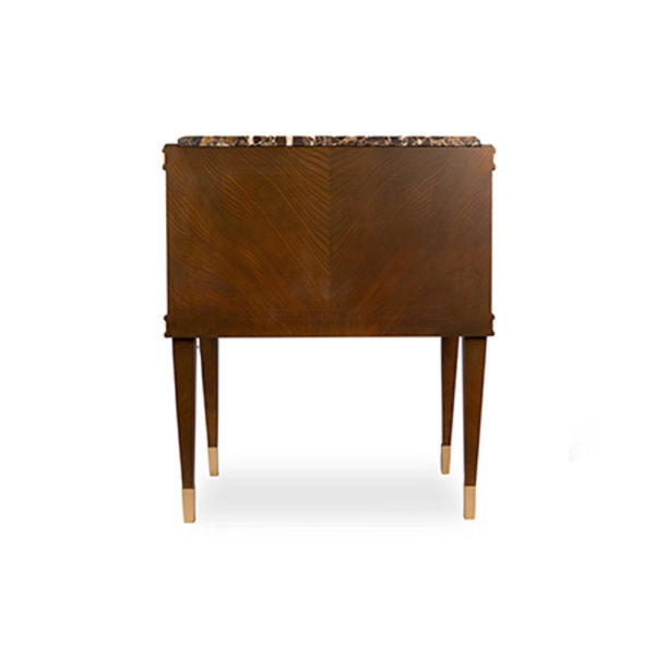Arabelle 2 Drawers with Brass and Marble Top Bedside Table Back View