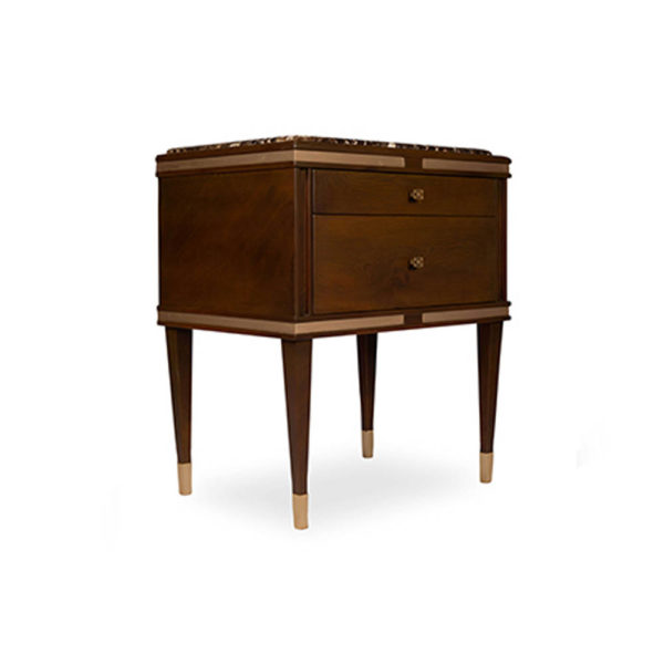Arabelle 2 Drawers with Brass and Marble Top Bedside Table Side View