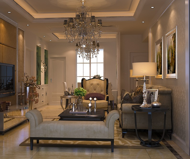 Luxury Living Room with curved side table