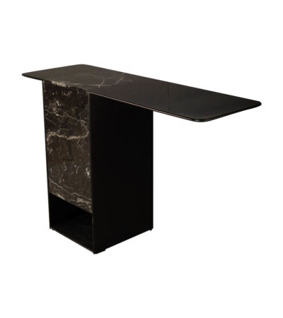 Sylvan Black Wood and Marble Console Table Top View