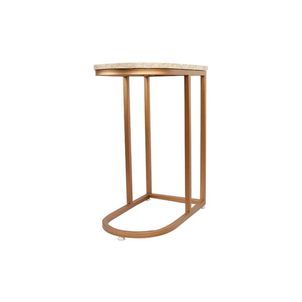 Allure Stainless Steel and Marble Side Table Beside View