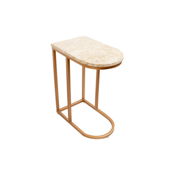 Allure Stainless Steel and Marble Side Table Corner View