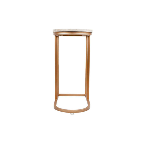 Allure Stainless Steel and Marble Side Table Front View