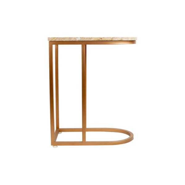 Allure Stainless Steel and Marble Side Table Right View
