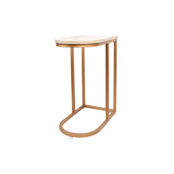 Allure Stainless Steel and Marble Side Table Side View