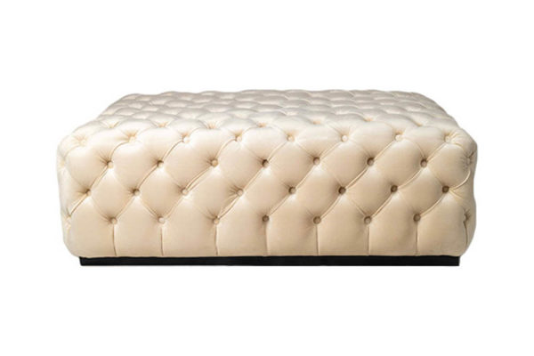 Audrey Tufted Upholstered Cream Ottoman