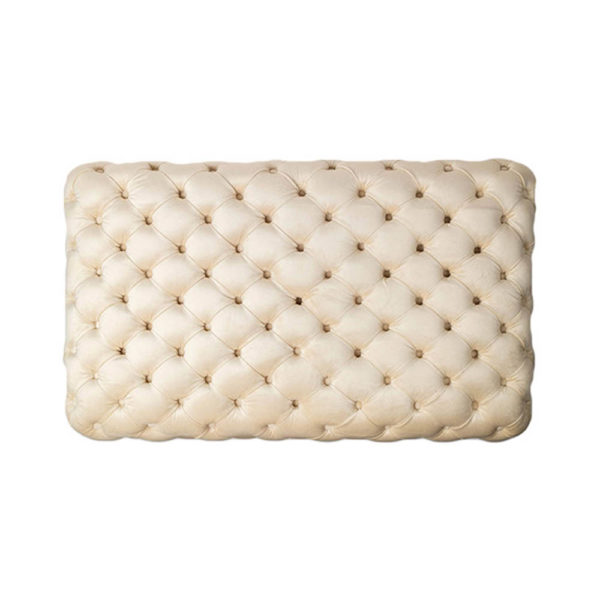 Audrey Tufted Upholstered Cream Ottoman Top