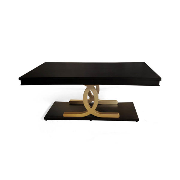 Azaro Wooden Brown and Gold Rectangular Dining Table