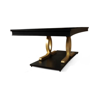 Azaro Wooden Brown and Gold Rectangular Dining Table View