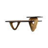 Aziza Gold and Dark Brown Modern Wooden Coffee Table 1