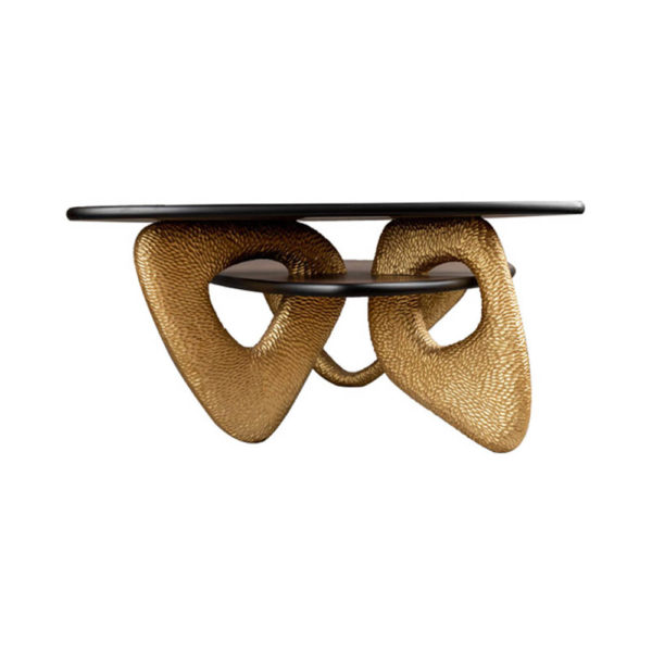 Aziza Gold and Dark Brown Modern Wooden Coffee Table Side View