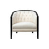 Azure Off White Tufted Armchair with Wooden Frame 1