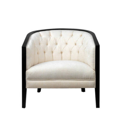 Azure Off White Tufted Armchair with Wooden Frame