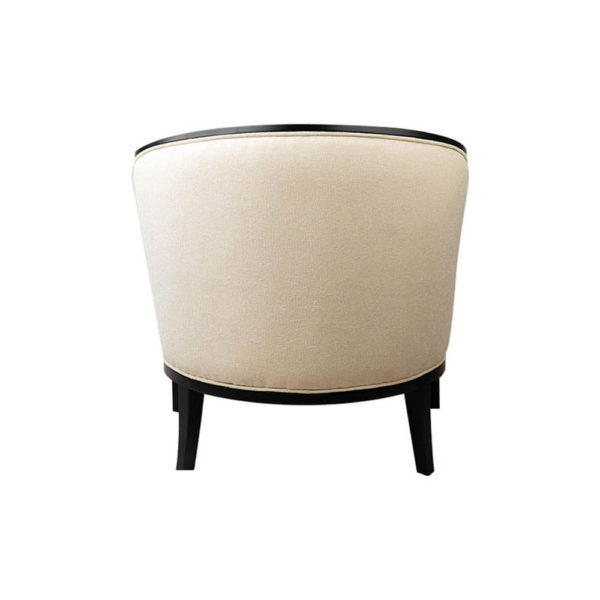 Azure Off White Tufted Armchair with Wooden Frame Back
