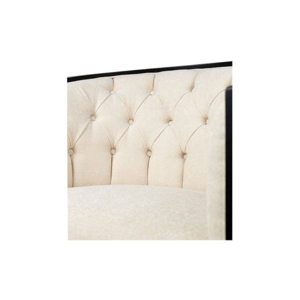 Azure Off White Tufted Armchair with Wooden Frame Details
