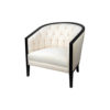 Azure Off White Tufted Armchair with Wooden Frame 6