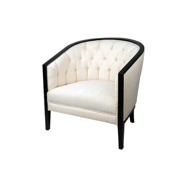 Azure Off White Tufted Armchair with Wooden Frame Left