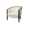 Azure Off White Tufted Armchair with Wooden Frame 4