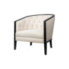 Azure Off White Tufted Armchair with Wooden Frame 3