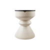 Bishop Cream White Lacquer Bedside Table with Marble Top 1