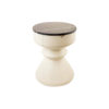 Bishop Cream White Lacquer Bedside Table with Marble Top 5