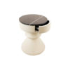 Bishop Cream White Lacquer Bedside Table with Marble Top 4