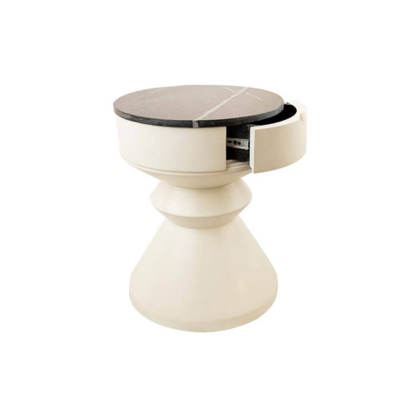Bishop Cream White Lacquer Bedside Table with Marble Top Side View