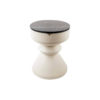 Bishop Cream White Lacquer Bedside Table with Marble Top 2