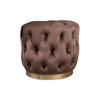 Boho Round Buttoned Chocolate Brown Pouffe With Brass Base