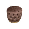 Boho Round Buttoned Chocolate Brown Pouffe with Brass Base 2