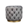 Boho Round Buttoned Taupe Pouf with Brass Base 1