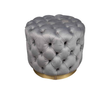 Boho Round Buttoned Taupe Pouf with Brass Base Top View