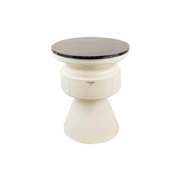 Bono Cream and Wood Bedside Table with Marble Top B
