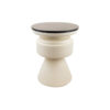 Bono Cream and Wood Bedside Table with Marble Top 4