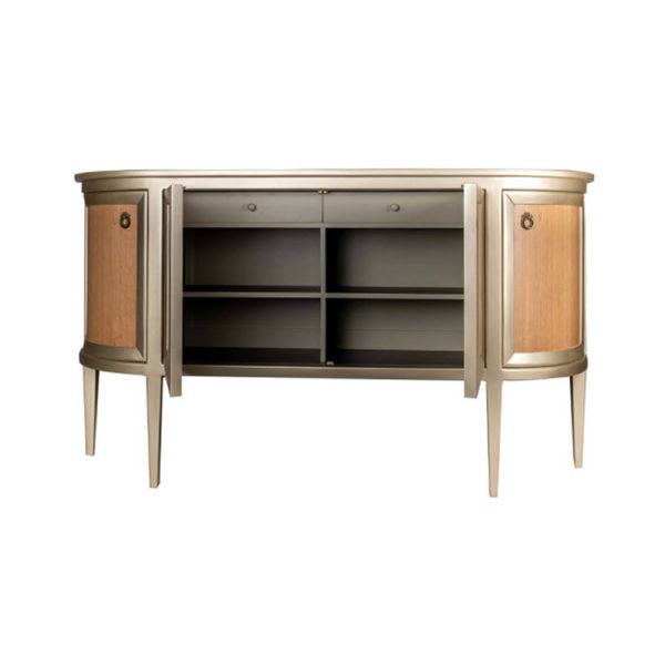 Camden Wooden and Marble Cabinet with Brass Handles Open Doors