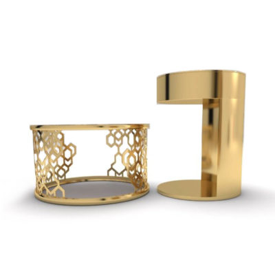 Drum Marble Brass Side Table Set of 2 A