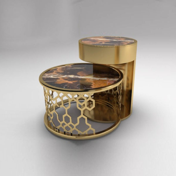 Drum Marble Brass Side Table Set of 2 1