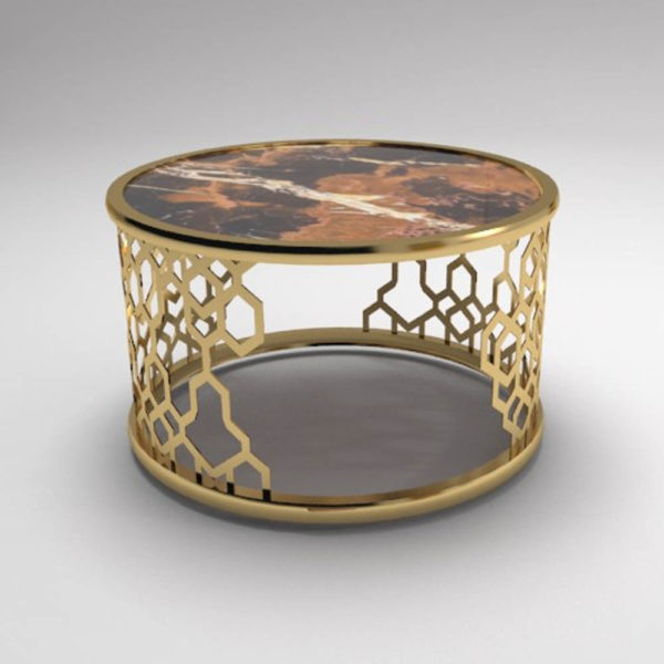 Drum Marble Brass Side Table Set of 2 2