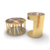 Drum Marble and Brass Side Table Set Of 2 1