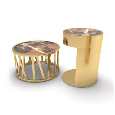 Drum Marble and Brass Side Table Set Of 2 A