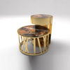 Drum Marble and Brass Side Table Set Of 2 2