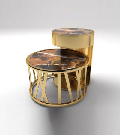 Drum Marble and Brass Side Table Set Of 2 B