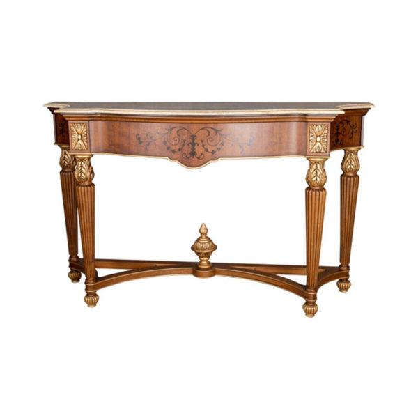 Edmund Elegant Style Console Table Marble Top Front View