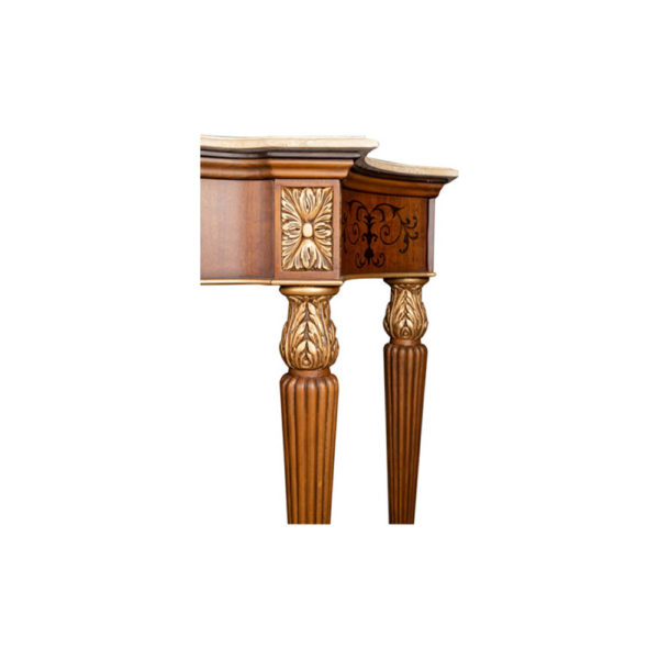 Edmund Elegant Style Console Table Marble Top Hand Carved Details